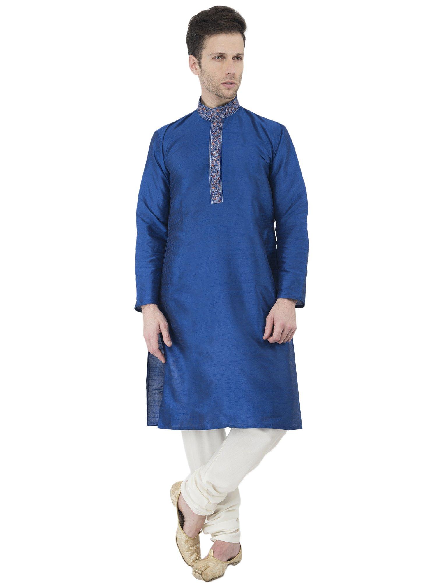 Indian Kurta Pajama Handmade Long Sleeve Button Down Shirt Traditional Blue Summer Dress -L