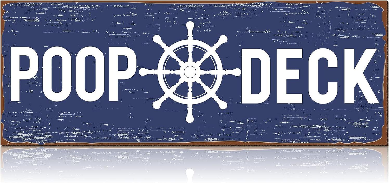 POOP DECK Sign Nautical Nursery Wall Decor Rustic Beach Bathroom Wood Sign Nautical Boat Decor Ocean Coastal Theme Decorations for Home Hanging Wood Sign for Ocean Bathroom and Nursery 15.7 x 5.9 Inch