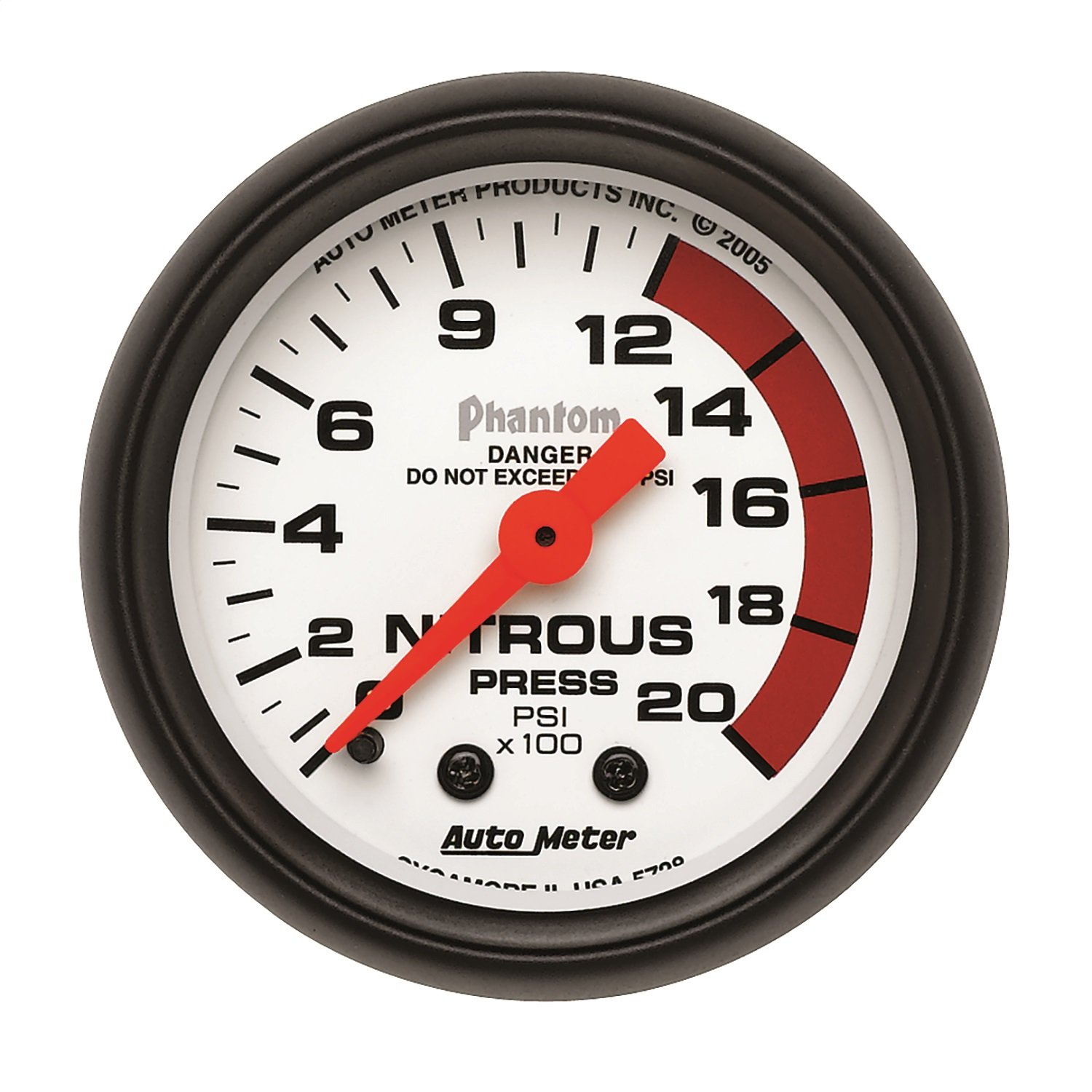 Auto Meter 5728 Phantom Mechanical Nitrous Pressure Gauge by AUTO METER
