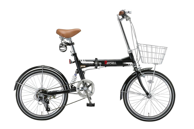 Raychell(レイチェル) 20インチ 折りたたみ 自転車 MSB-206R シマノ6段変速 リアサスペンション フロントライト付 [メーカー保証1年] B071WLY2GY ブラック ブラック