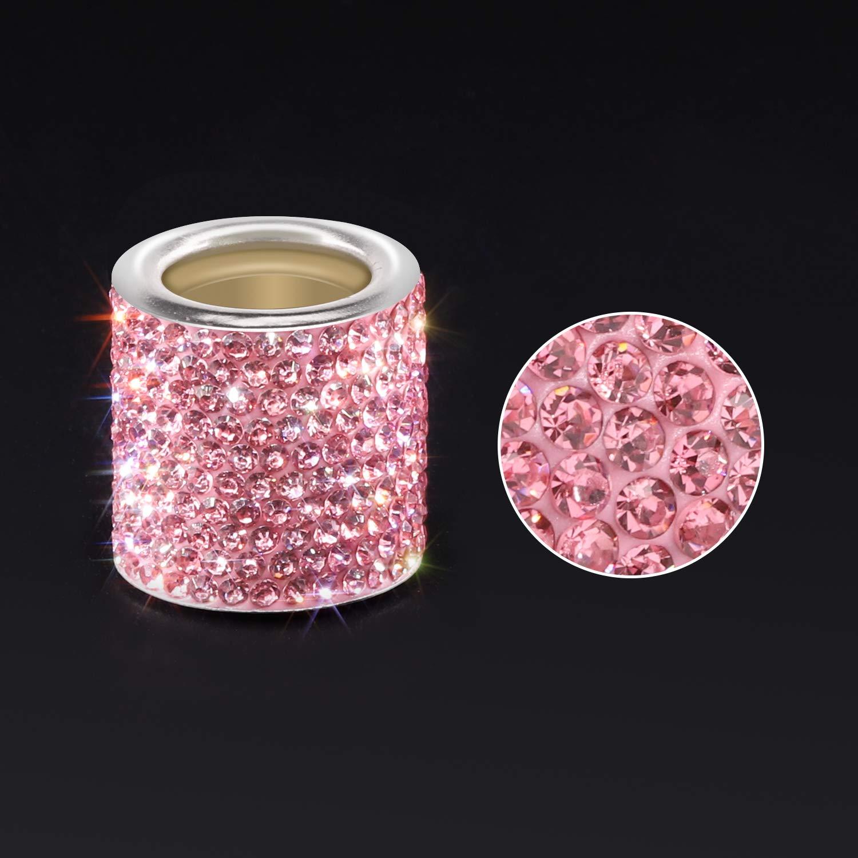 Rosa YINUO Universal Juego de 4 Anillos Adornado Bling Bling Cristal De Cabezal Reposacabezas Resto Cromados De Coche Veh/ículo