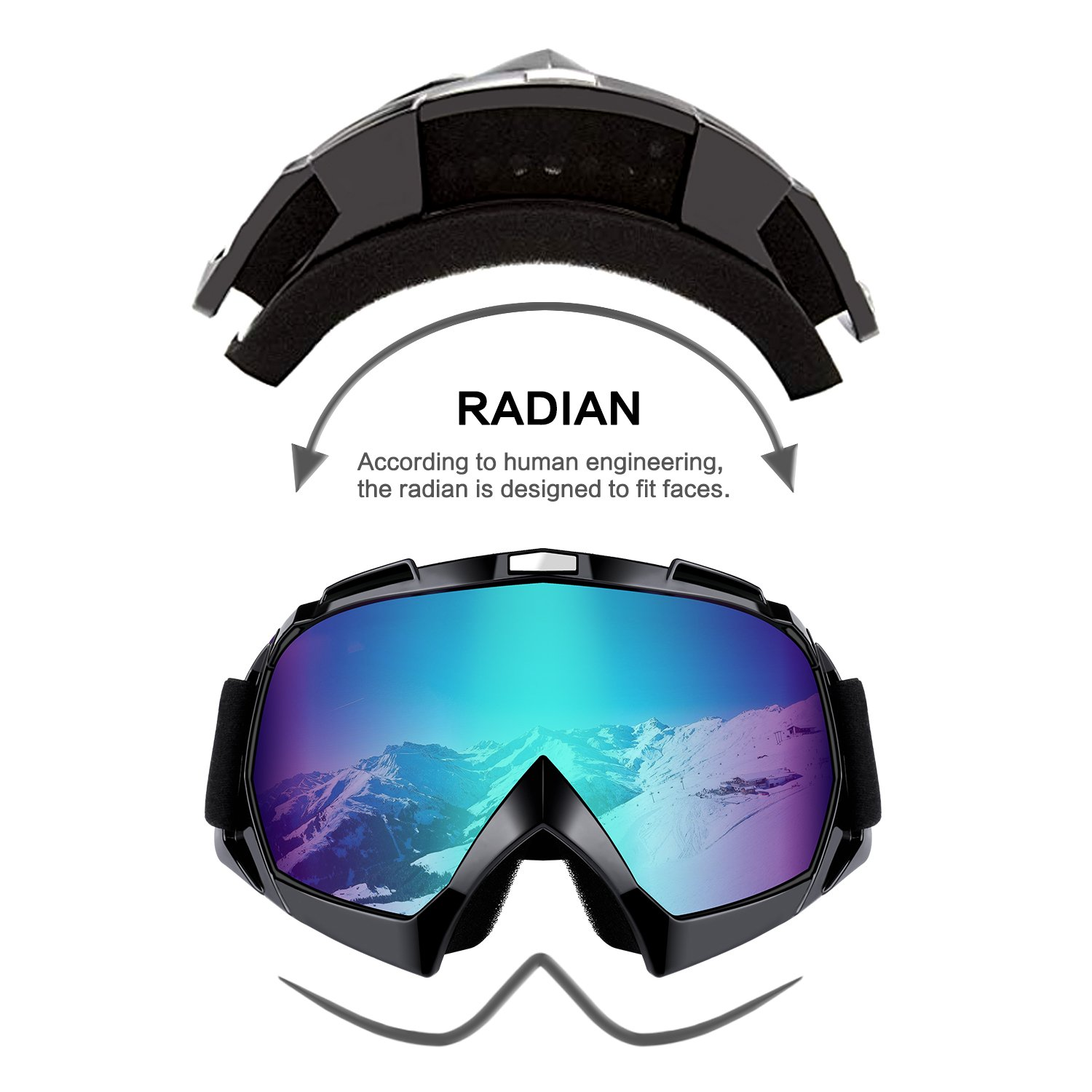 Motorcycle Motocross Goggles Cycling Windproof Dustproof UV400 Protection Clear Lense Ski Snowboard Sports Outdoor Goggles ATV Off Road Bike Glasses for Men Women /& Youth Dirt Bike Riding