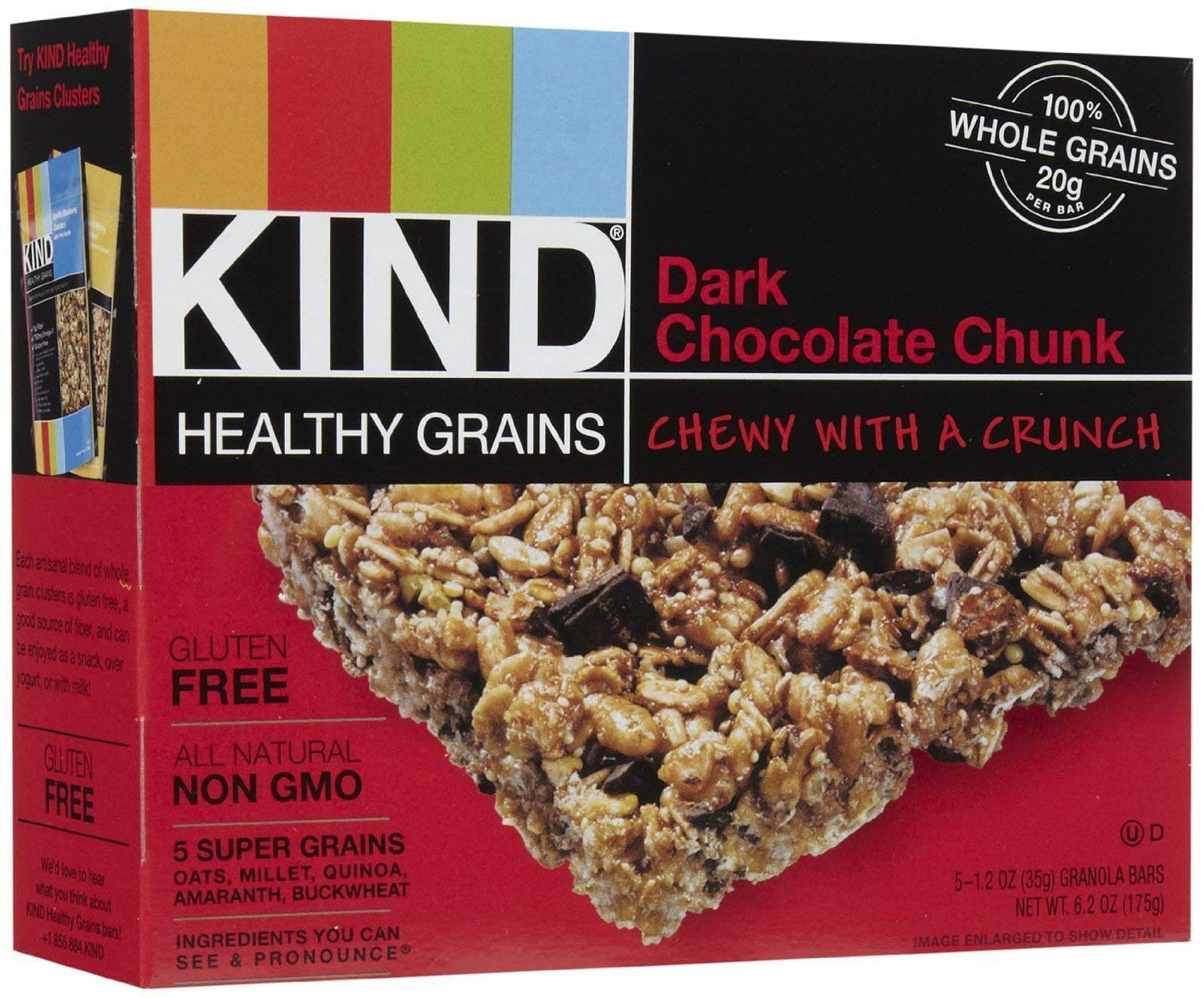 KIND Healthy Grains Bars-Dark Chocolate Chunk-1.2 Oz-5 Count-4 Pack by KIND