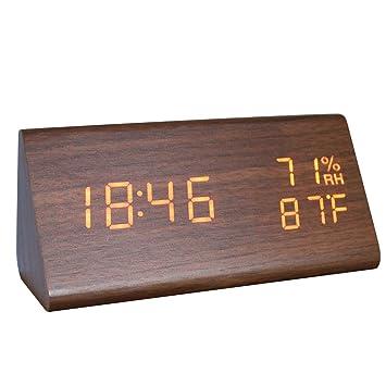 GANGHENGYU Reloj Despertador de Madera LED Triángulo Temperatura y Humedad Digitales Digitales Mesa de Inicio Dormitorio