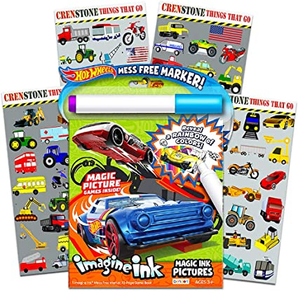 Amazon.com: Hot Wheels Imagine Ink Coloring Book Set For Kids Toddlers --  Mess Free Magic Ink Coloring Book With 160 Crenstone Stickers (No Mess  Coloring Bundle): Toys & Games