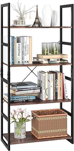 Cheap Homfa Bookshelf Rack 4 Tier Vintage Bookcase Shelf Storage Organizer Modern Wood Look Accent Metal Frame Furniture Home Office modern bookcase for sale