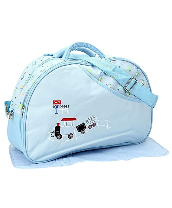 Unique Ideas New Born Baby Multipurpose Polyester Diaper/Mother Bag with Holder Diaper Changing Multi Compartment (Printed Blue, Medium)