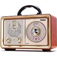 Radio MP3 Portable PRUNUS Bluetooth M-110BT FM/AM(MW) SW/USB/Micro-SD/TF/AUX. avec Façade Classique Imitation Bois Retro Vintage. Haut-Parleurs 3W Intégrés (Pas de Prise écouteur). (Gold)