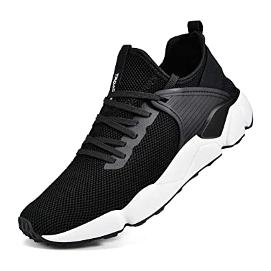 a2843aae9a9 Troadlop Men s Fashion Sneakers Breathable Mesh Comfortable Lightweight  Walking Shoes Slip-On Running Black 7.5