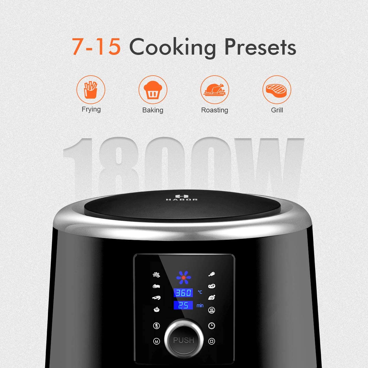 Habor Upgraded Air Fryer W Cookbook , 6QT Hot Air Fryer Oven, 8 Cooking Presets with Heat Preservation Function, Digital TouchScreen, Detachable Basket Dishwasher Safe, Classical Black-122AB