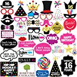 16th Birthday Photo Booth Party Props - 40 Pieces - Funny Sweet Sixteen Birthday Party Supplies