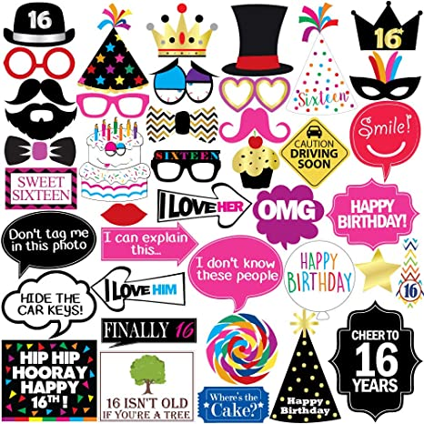 Amazon 16th Birthday Photo Booth Party Props