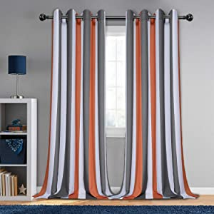 LORDTEX Orange and Grey Striped Kids Curtains for Bedroom - Light Filtering Polyester Cotton Blended Grommet Window Drapes for Boys and Girls Room, 55 x 84 Inches Long, Set of 2 Panels