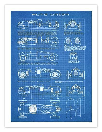 Amazon auto union race car poster art handmade gicle gallery auto union race car poster art handmade gicle gallery print blueprint type a c d 18x24 inches unframed malvernweather Choice Image