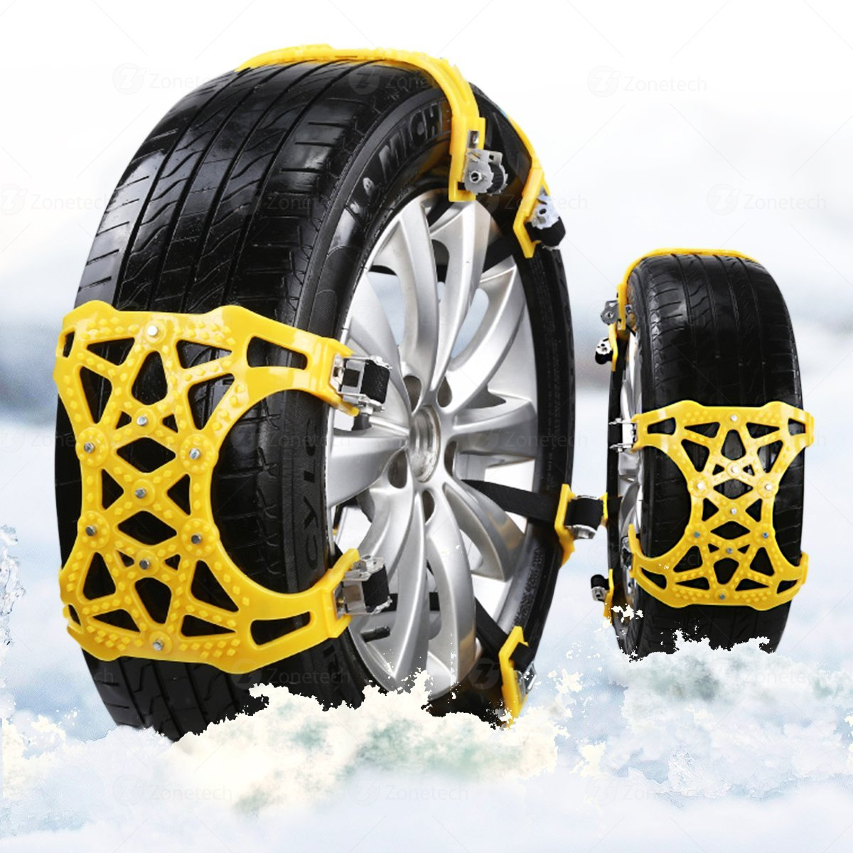 Zone Tech Car Snow Chains - Premium Quality Strong Durable All Season Anti-Skid Car, SUV, and Pick Up Patterned Tire Chains for Emergencies and Road Trip Comfort Wheels