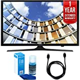 Samsung UN50M5300 Flat 50-Inch 1080p LED SmartTV (2017 Model) + 1 Year Extended Warranty + 6ft High Speed HDMI Cable (Black) + Universal Screen Cleaner (Large Bottle) for LED TVs