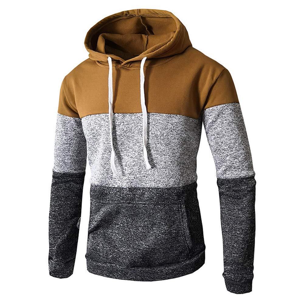 Men's Slim Patchwork Autumn Winter Casual Long Sleeve Pocket Fit Hoodies Blouse Top Coat minRan Dressin0918