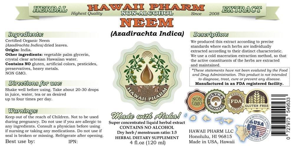 Neem Alcohol-FREE Liquid Extract, Organic Neem (Azadirachta indica) Dried Leaf Glycerite Natural Herbal Supplement, Hawaii Pharm, USA 64 fl.oz by HawaiiPharm (Image #2)
