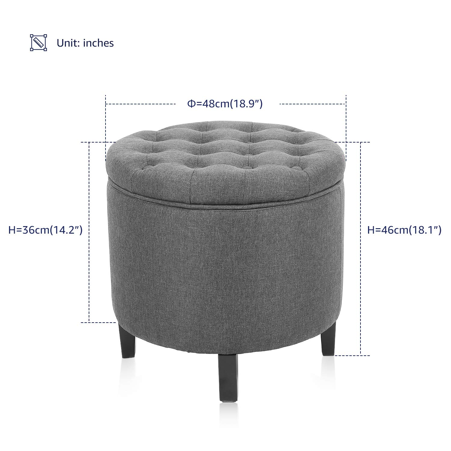 KERMS Collapsible Round Storage Ottoman Foot Stool Comfortable Seat with Wooden Feet and Lid, Soft Padding, Memory Foam,Soft and Convenience (Grey) by KERMS