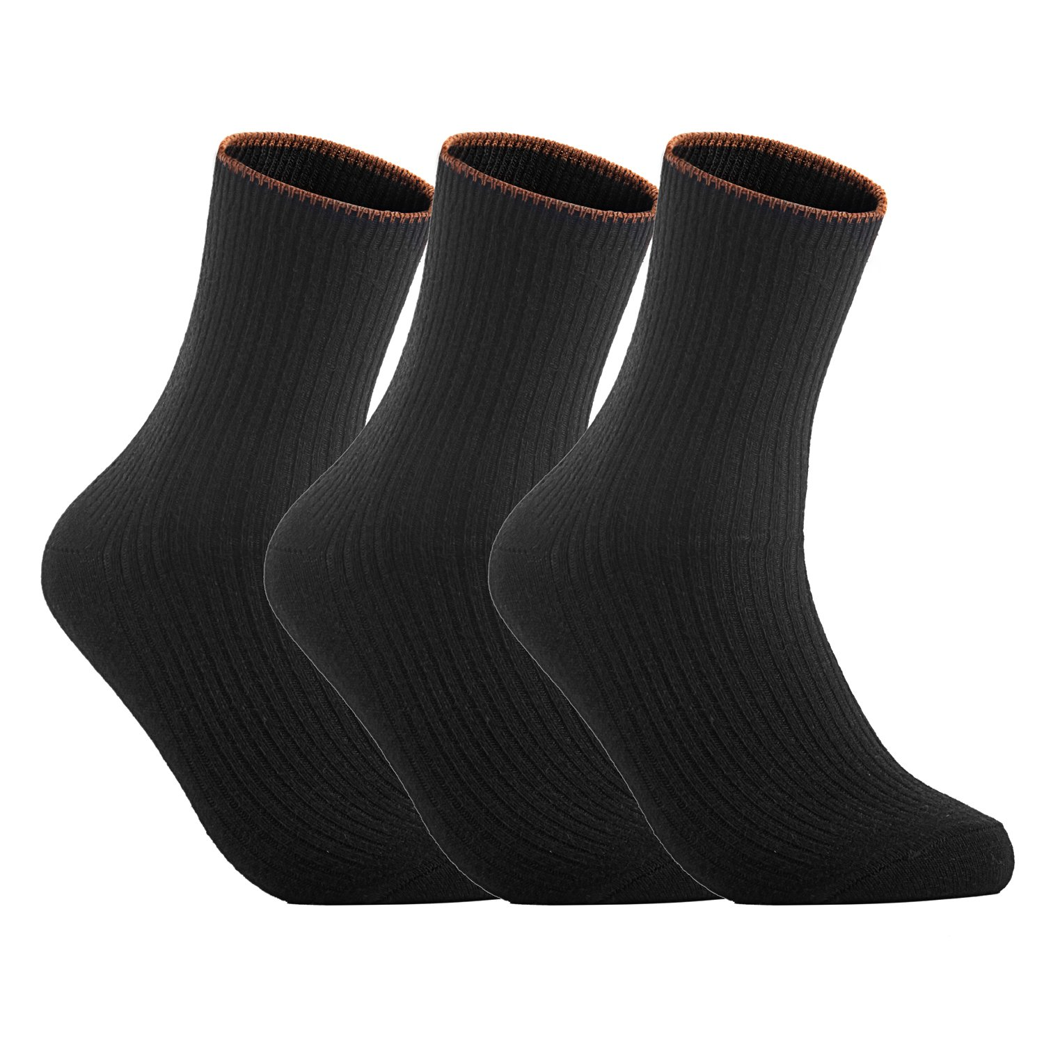 Lian LifeStyle Women's 3 Pairs Cashmere Wool Socks Casual Size 6-9(Black)