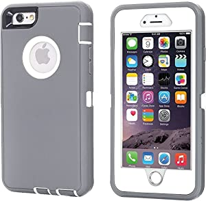 AICase iPhone 8 Plus/7 Plus Case, [Heavy Duty] [Full Body] Tough 3 in 1 Rugged Shockproof Water-Resistance Cover for Apple iPhone 8 Plus/7 Plus (White/Grey)