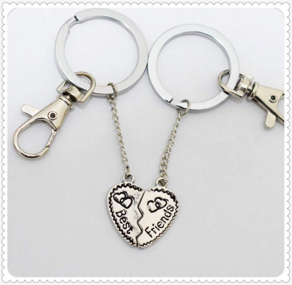 Charm Best Bitches Keychain, Best Friend Keychain, BFF Keychain, Split Heart Keychain, Best Friend Forever Christmas Gift (C)