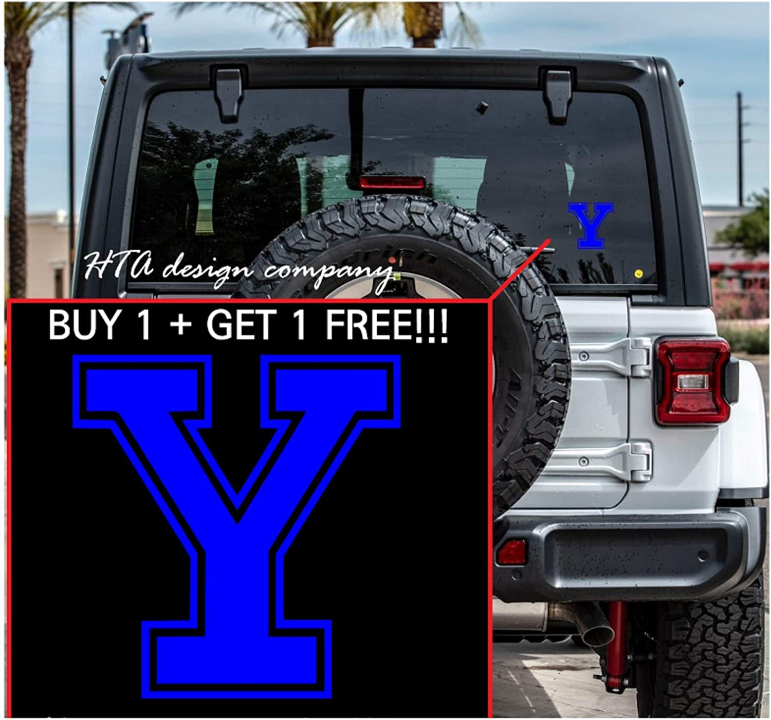HTA Custom Decal for Yale univ. Symbol Die Cut Vinyl Sticker Decal for Car, Truck, Jeep, Window, Motorcycle, Bumper Decal for Laptop, Phone, Home Decoration / 4 in x 4 in/Bule