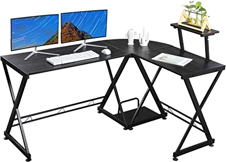Large Corner Computer Desk 120//136cm Length Laptop PC Writing Gaming Work Table