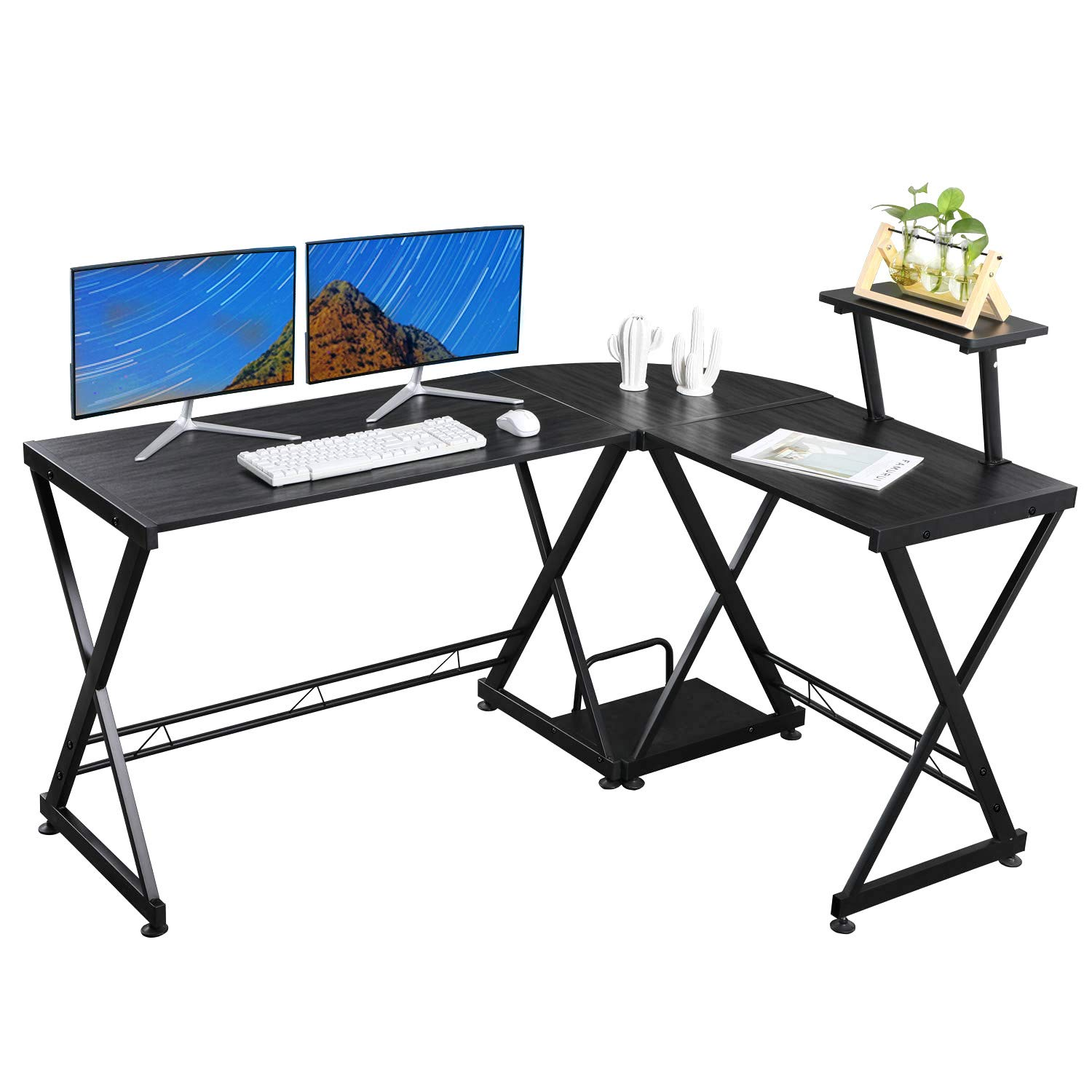 VADIM L Shaped Computer Desk Home Office Table 57.8X44 inch with PC Stand Laptop Table Workstation Stand Switchable Gaming Desk for Home Office Black by VADIM
