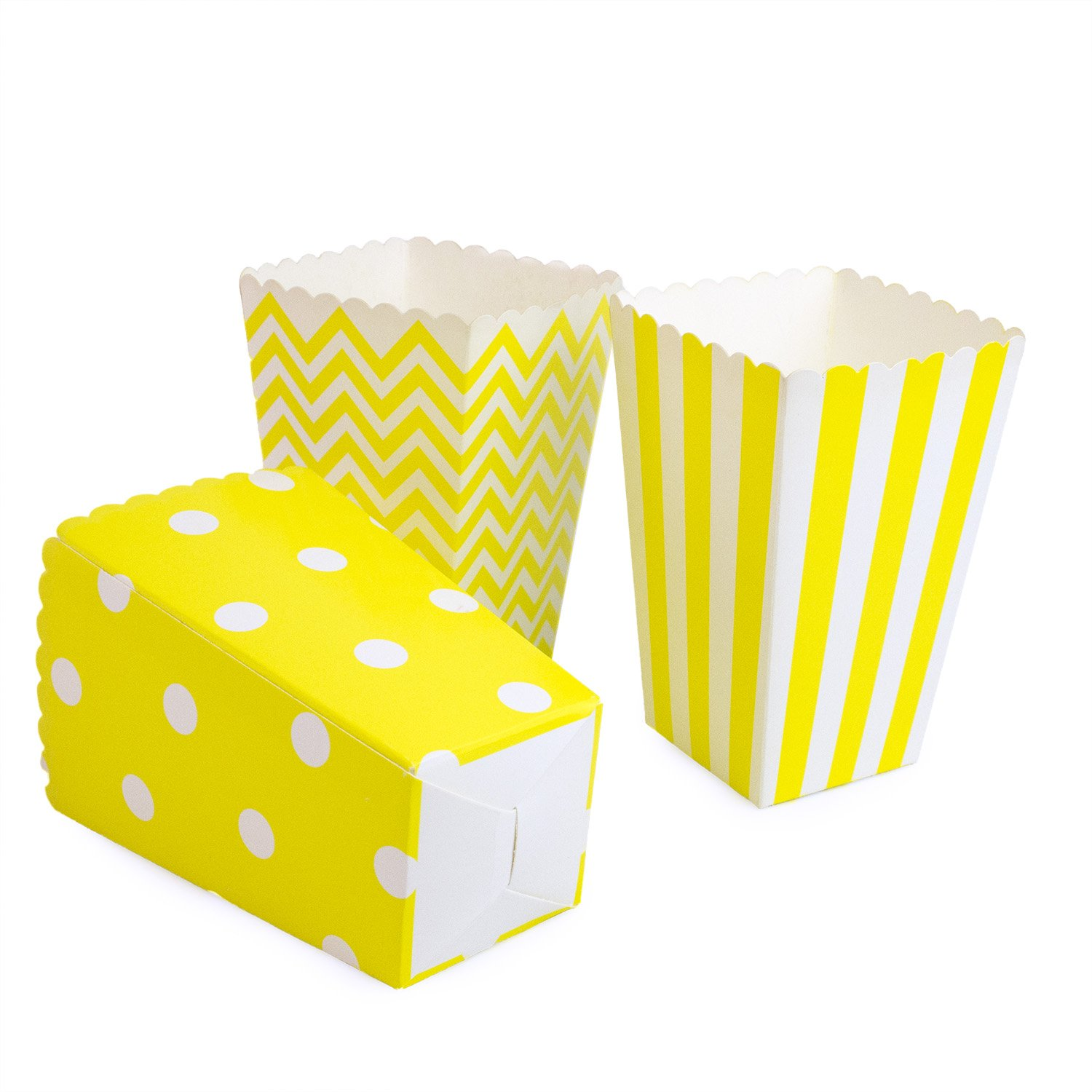 Popcorn Boxes Yellow Cardboard 3 Designs - Chevron/Striped/ Polka Dot Popcorn Bags for Birthday Party, Baby Shower, Movie 36PCS