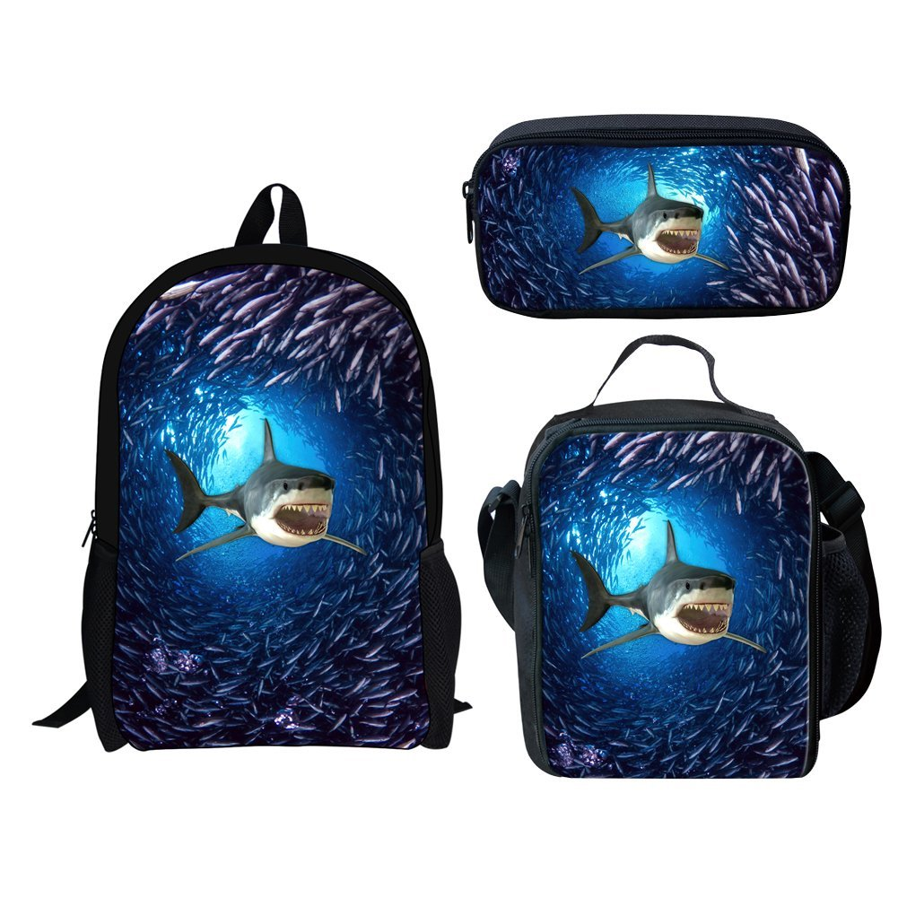 HUGS IDEA Shark Backpack Set for Kids Boys 3 Piece School Bag with Thermal Lunch Box Pencil Case