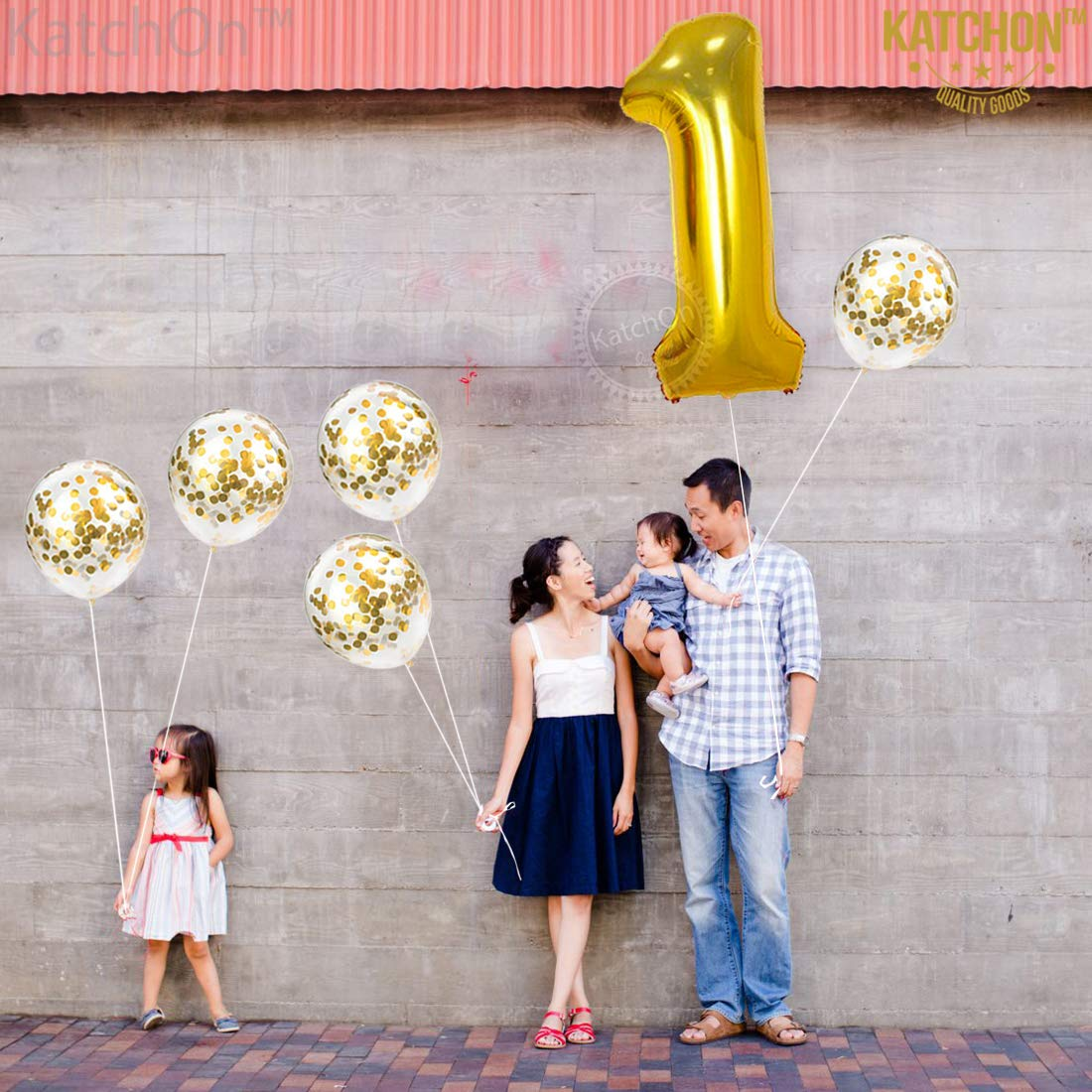 Baby Shower Wedding Number 1 and Gold Confetti Balloon 32 Foot Balloons String KatchOn Winner Large First Party Supplies for Engagement Anniversary 1st Birthday Party Decorations