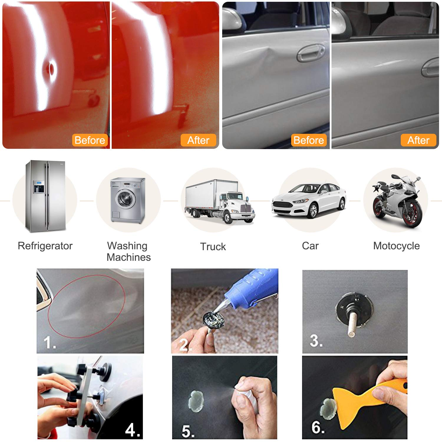 Danti 92pcs Auto Body Repair Tools with Bag, Car Dent Puller with Double Pole Bridge Dent Puller, Glue Puller Tabs, Glue Shovel for Auto Dent Removal, Minor dents, Door Dings and Hail Damage by Danti (Image #2)