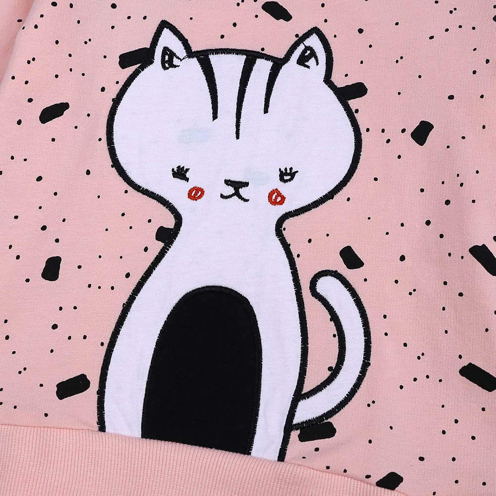 Amazon.com: Girls Tops Binmer Kids Cute Cartoon Cat Print Long Sleeve Tops Casual Outfits Clothes: Clothing