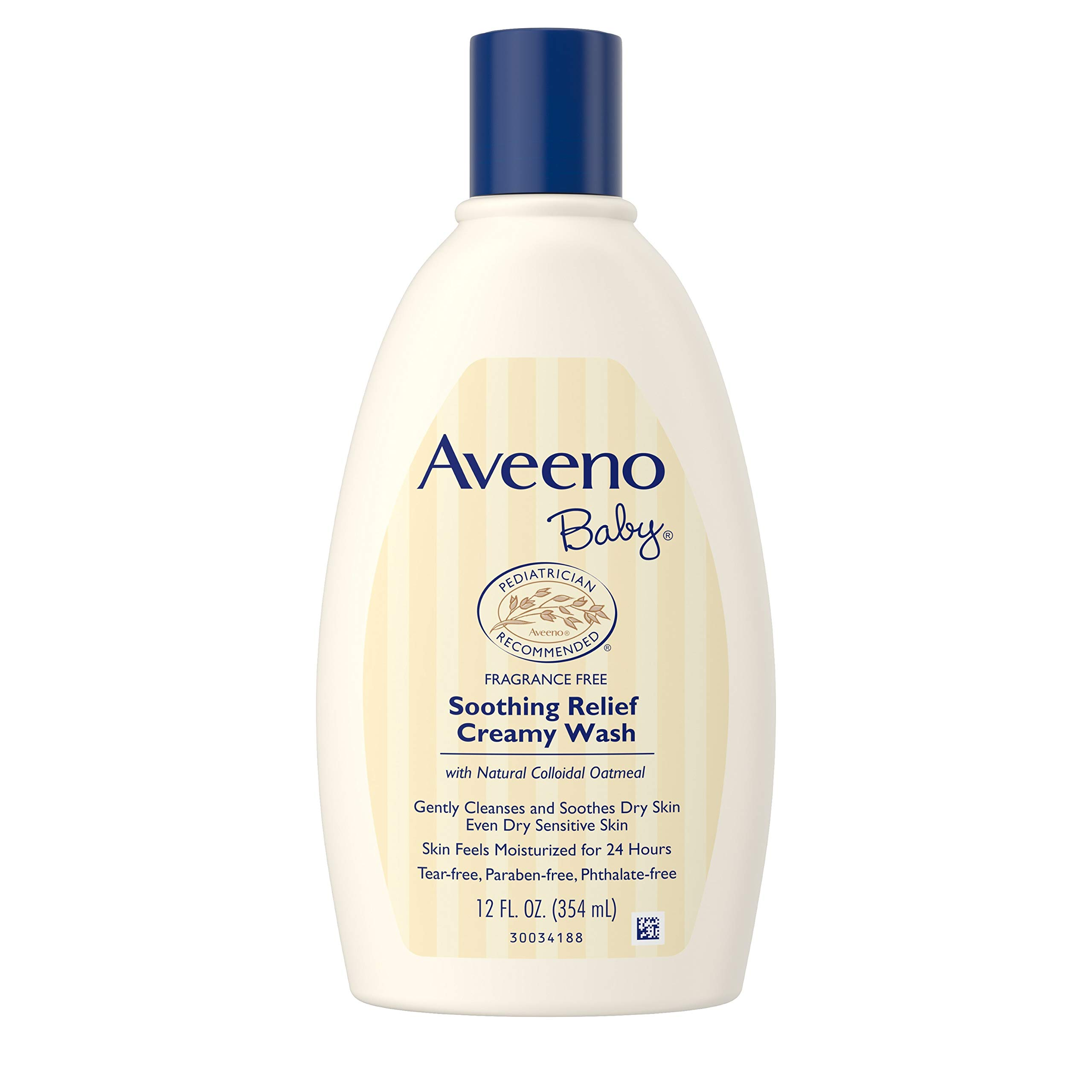 Aveeno Baby Soothing Relief Creamy Wash with Natural Colloidal Oatmeal for Dry & Sensitive Skin, Hypoallergenic & Tear-Free Formula, 12 fl. Oz (Pack of 2) by Aveeno Baby