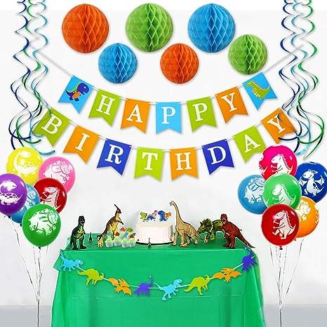 Amazon.com: Adornos para fiesta de cumpleaños de dinosaurios ...