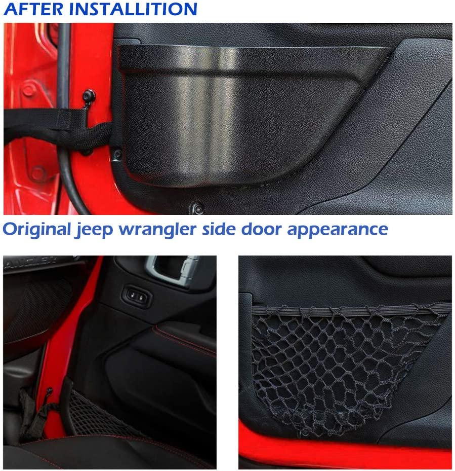 SUNTUE Jeep JK JKU Storage Box Addition Accessories,Font Doors Netted Pockets Replacement for Jeep Wrangler 2011-2018 JK JKU 2//4-Door,2020 Jeep Gladiators JT.