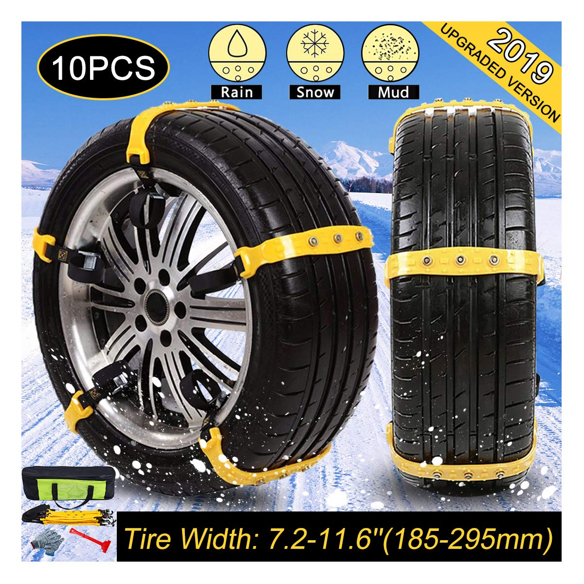 Snow Chains for SUV, Winter Tire Chains for Trucks Emergency Tire Chain Snow Chain with Adjustable Tension Straps of SUV, Car Set of 10 Winter Driving Security Chains Tire Width:185-295mm/7.2-11.6in Mojonnie