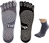 EQLEF® Men Yoga Socks 5-toe with Full Grip 2 Pairs