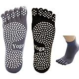 Men Yoga Socks 5-toe with Full Grip 2 Pairs