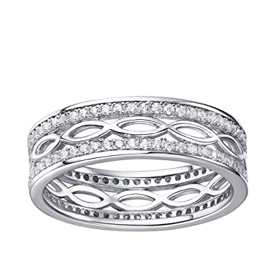 JO WISDOM Silver Ring, 925 Sterling Silver Crisscross Engagement Ring with AAA Cubic Zirconia for Women