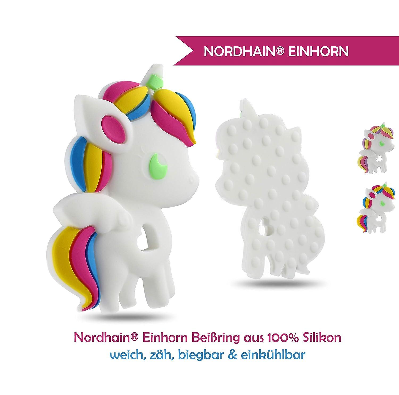 Nordhain Einhorn Beißring für Babys aus hochwertigem Silikon - unterstützender Spielkamerad & Freund deines Babys in zahnender Zeit