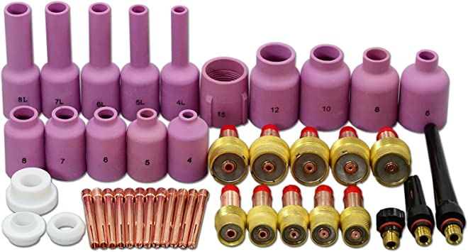 TIG Gas Lens Back Cap Collet Body Assorted Size Kit Fit PTA DB SR WP 9 20 25 TIG Welding Torch 63pcs