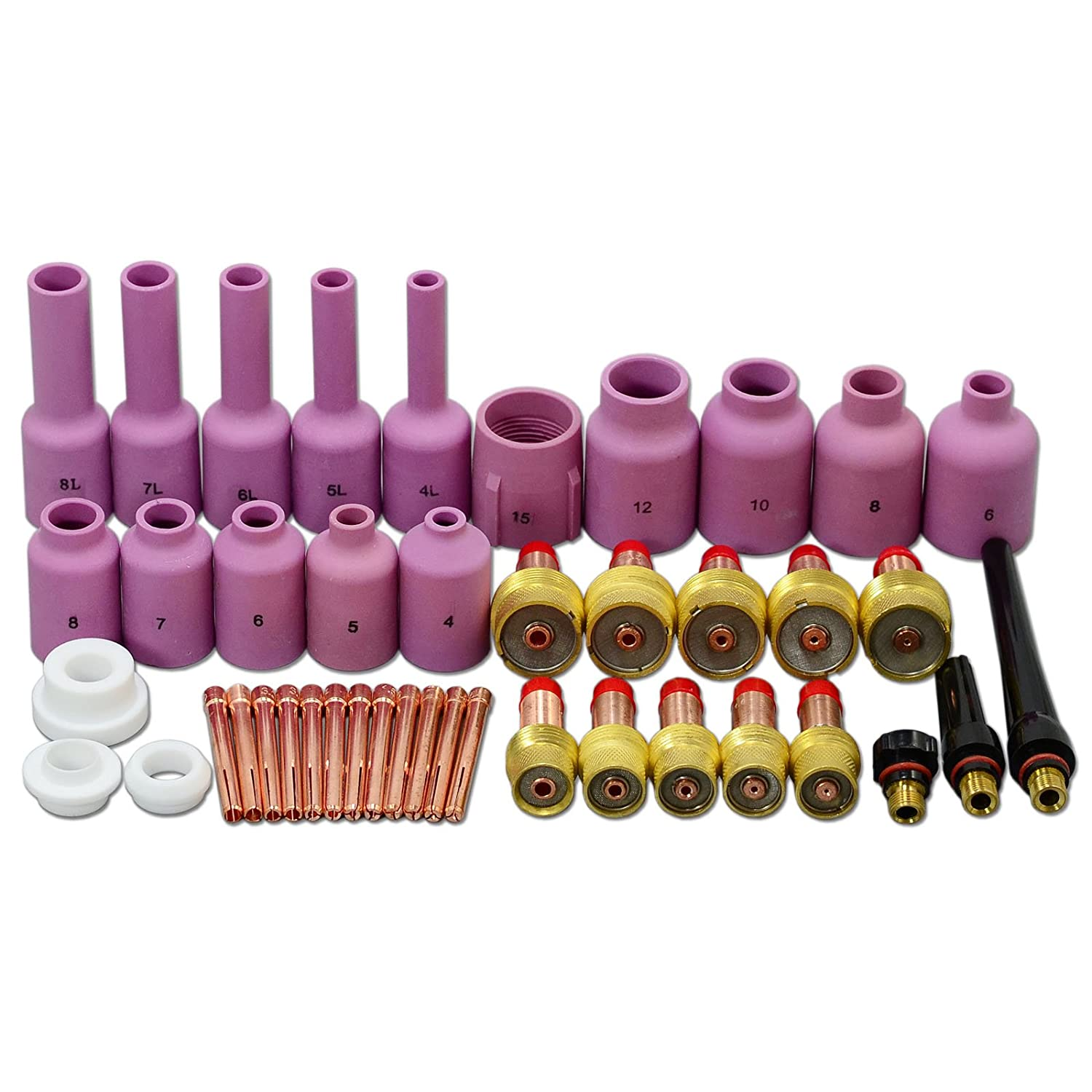 43pcs TIG long gaz Objectif TIG Retour Cap Collet Body Kit Fit TIG torche de soudage DB SR WP17 18 26 RIVERWELDstore WP-17 WP-18 WP-26