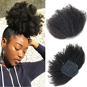 Amazoncom Bluple Afro Kinky Curly 4b 4c Clip In Ponytails