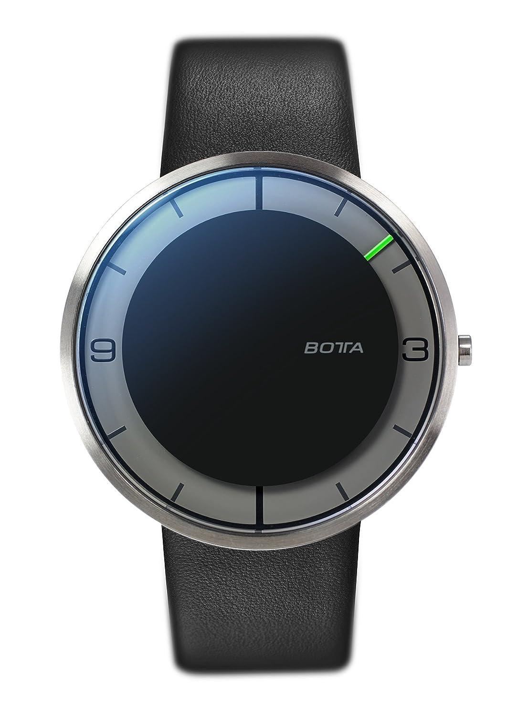 Botta-Design NOVA+ Armbanduhr - Einzeigeruhr - Edelstahl - schwarzes Zifferblatt - Lederband