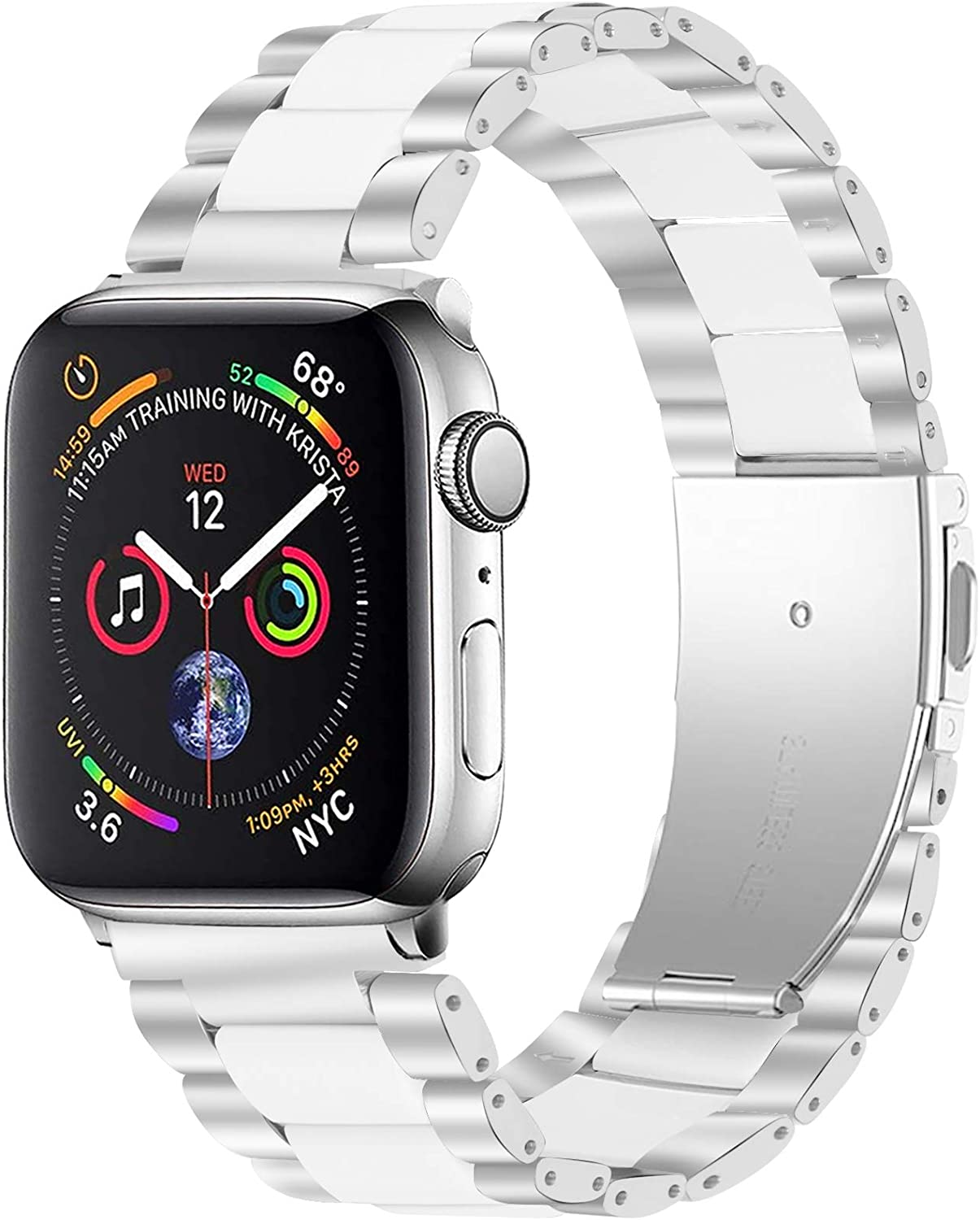 MEFEO Compatible with Apple Watch Bands 38mm 40mm 42mm 44mm, Resin Stainless Steel Metal Wristbands Bracelet Strap for iWatch Series 6/5/4/3/2/1 & iWatch SE (Silver + White, 42mm/44mm)