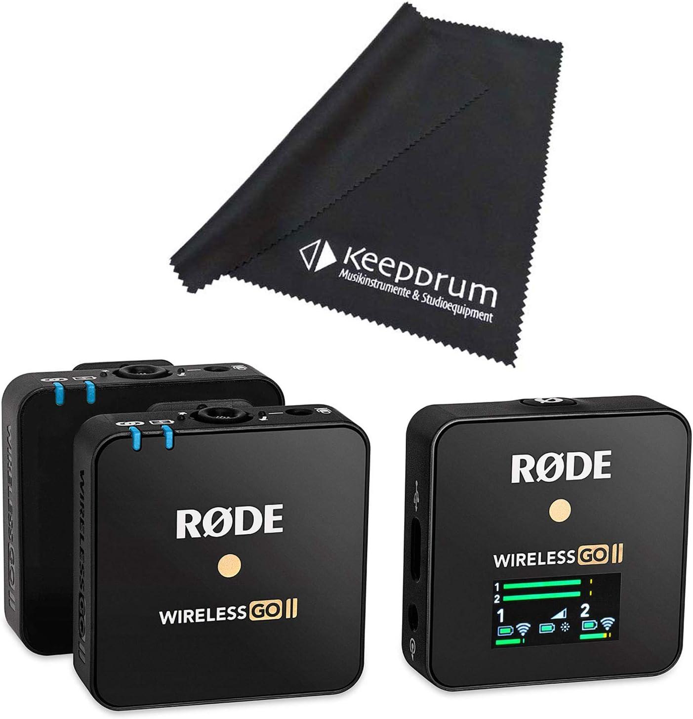Rode Wireless GO II - Sistema de micrófono inalámbrico (2 canales, paño de limpieza keepdrum)