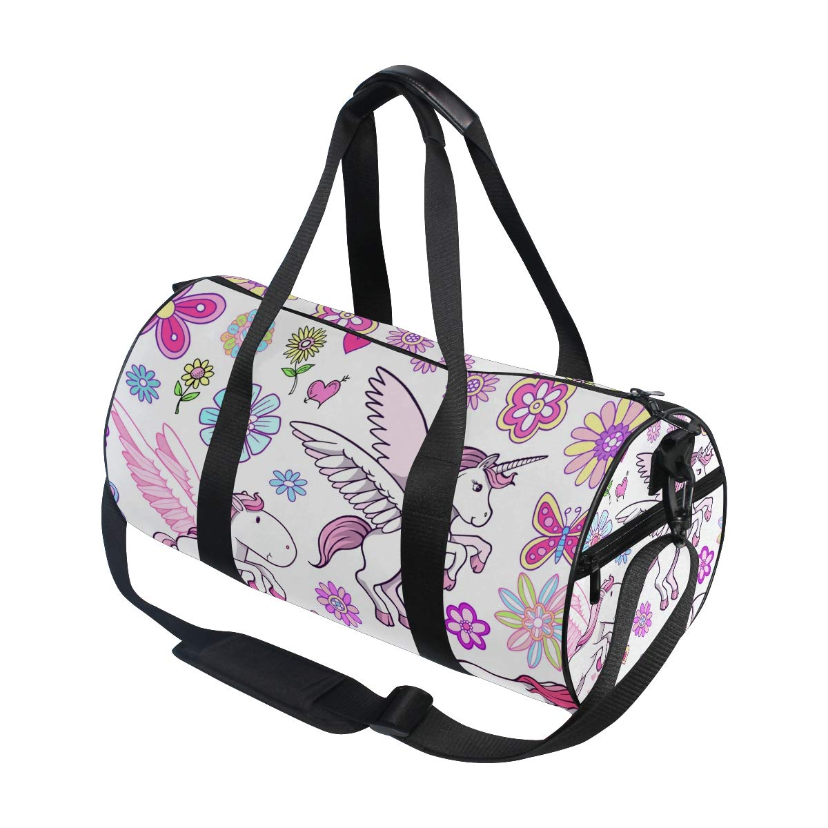 WIHVE Gym Duffel Bag Unicorn Pegasus Fairytale Spring Sports Lightweight Canvas Travel Luggage Bag