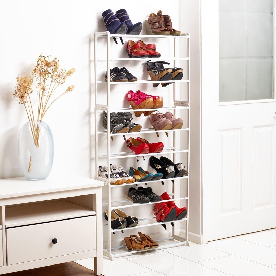Vinsani Home Étagère à Chaussures 10Niveaux étagère à Chaussures de Rangement Organisateur Support de Maintien pour 30Paires–Blanc/Noir